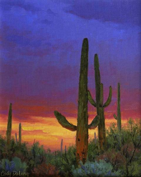 Wall Art - Painting - Saguaro Sunset by Cody DeLong