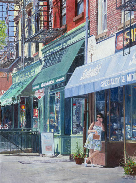 Blue Dress Painting - Sahadis Atlantic Avenue Brooklyn by Anthony Butera