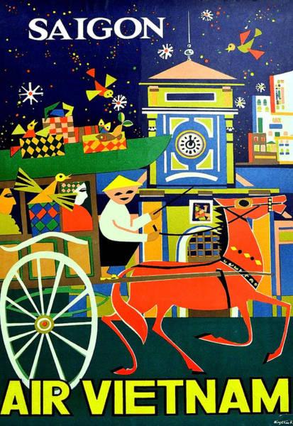 Vietnamese Painting - Saigon City Ho Chi Min, Vietnam, Airline Travel Poster by Long Shot