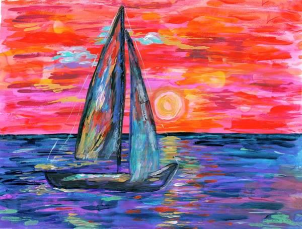 Wall Art - Painting - Sail At Dusk by Bridget Weber