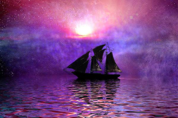 Schooner Digital Art - Sail Away by Carol and Mike Werner