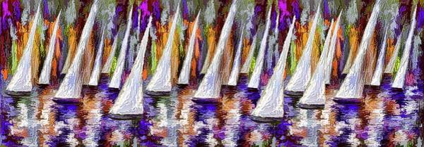 Painting - La Regata Decorative Horizontal Panorama Painting By Olena by OLena Art Brand