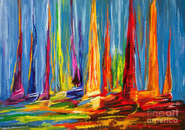 Rudder Painting - Sail Boats In A Row by Tim Gilliland