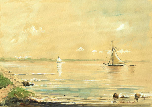 Wall Art - Painting - Sail Ship Watercolor by Juan  Bosco