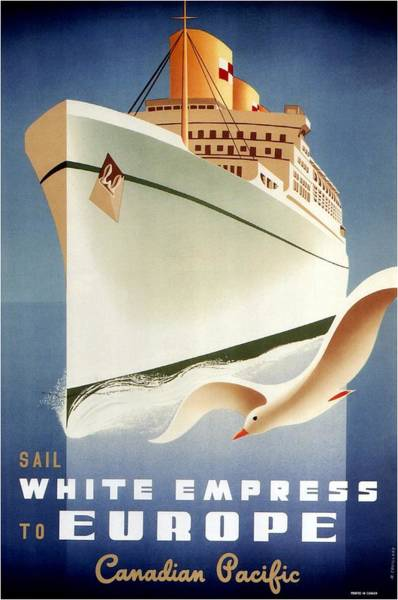 Office Decor Mixed Media - Sail White Empress To Europe - Canadian Pacific - Retro Travel Poster - Vintage Poster by Studio Grafiikka