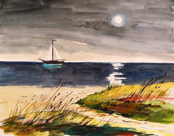 Beach Grass Drawing - Sail With A Hazy Moon by John Williams