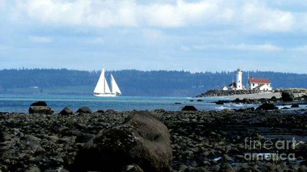Photograph - Sailboat And Lighthouse by Barbara Henry