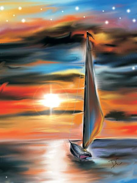 Digital Art - Sailboat And Sunset by Darren Cannell