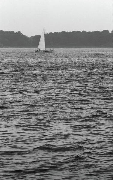 Photograph - Sailboat And Waves, Piscataqua River, Maine 2004 Bw by Frank Romeo