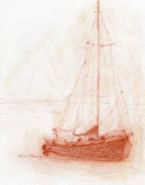Rust Drawing - Sailboat In Anacortes Harbor In Pencil by Janel Bragg
