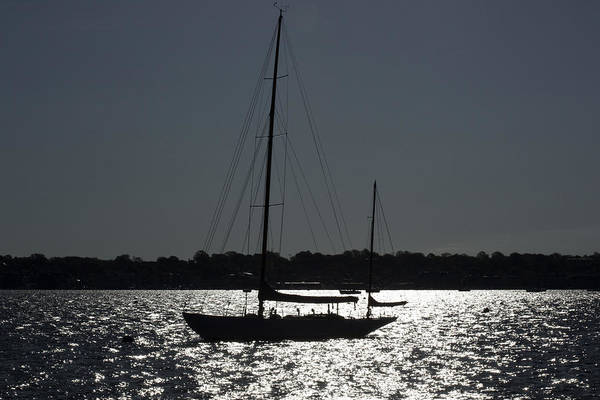 Newport Ri Wall Art - Photograph - Sailboat In Silhouett  by Joel P Black