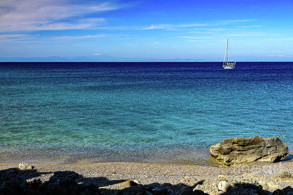 Photograph - Sailboat In The South Agean Sea, Rhodes, Greece by Global Light Photography - Nicole Leffer