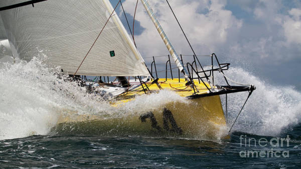 Wall Art - Photograph - Sailboat Le Pingouin Open 60 Charging  by Dustin K Ryan