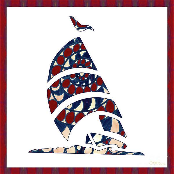 Digital Art - Sailboat Nautical Nursery Art By Omashte by Omaste Witkowski