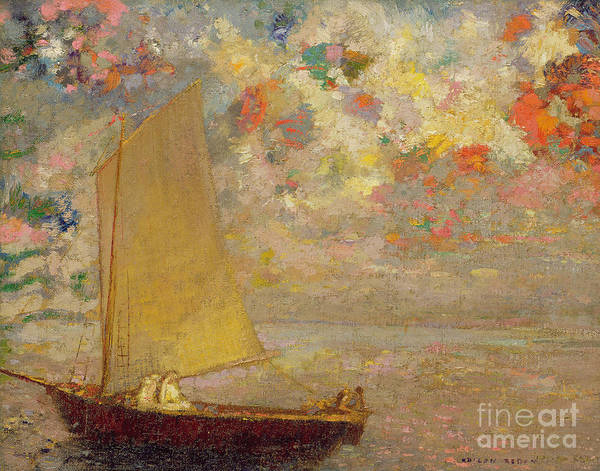 Atmospheric Painting - Sailboat by Odilon Redon