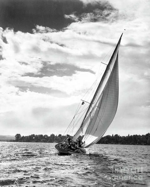 Galloway Wall Art - Photograph - Sailboat Off Shore by Ewing Galloway