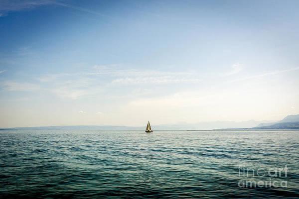 Wall Art - Photograph - Sailboat On Lake Geneva. Switzerland. by Bernard Jaubert