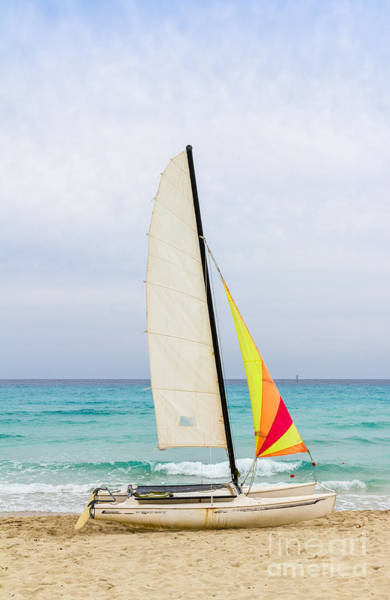 Photograph - Sailboat On The Beach by Les Palenik