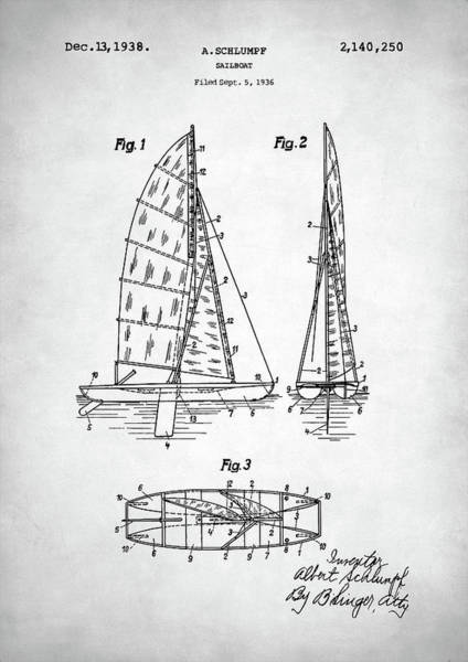 Wall Art - Digital Art - Sailboat Patent by Zapista Zapista