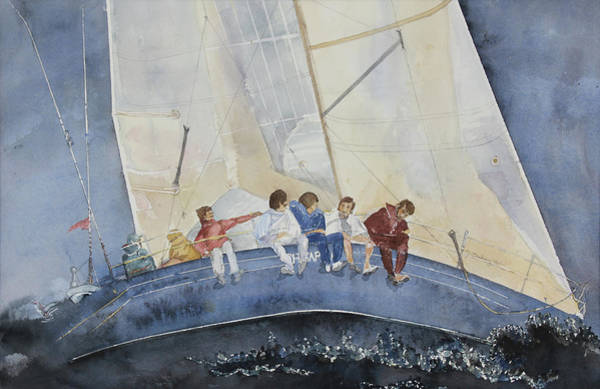 Wall Art - Painting - Sailboat Race by Janice Buehring