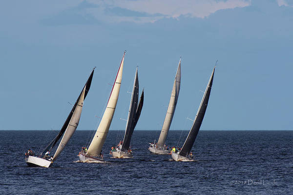 Photograph - Sailboat Race On Lake Superior  by David Lunde