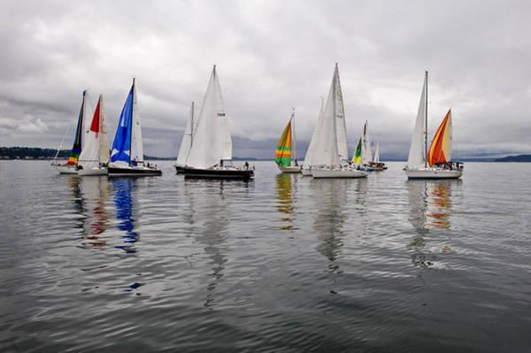 Sailboat Race Seattle Art Print by Tom Dowd