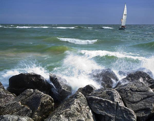 Sailboat Sailing Off The Shore At Ottawa Beach State Park Art Print