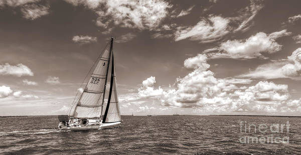 Wall Art - Photograph - Sailboat Sailing On The Charleston Harbor Sepia Beneteau 40.7 by Dustin K Ryan