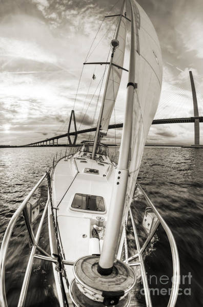 Wall Art - Photograph - Sailboat Sailing Past Arthur Ravenel Jr Bridge Charleston Sc by Dustin K Ryan