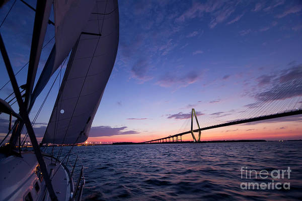 Wall Art - Photograph - Sailboat Sailing Sunset On The Charleston Harbor  by Dustin K Ryan