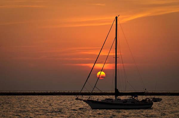 Wall Art - Photograph - Sailboat Sunrise Chicago by Steve Gadomski