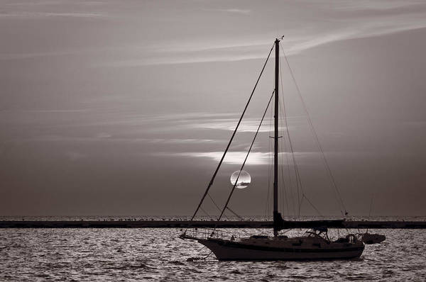 Wall Art - Photograph - Sailboat Sunrise In B And W by Steve Gadomski