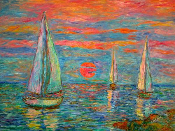 Painting - Sailboat Sunrise by Kendall Kessler