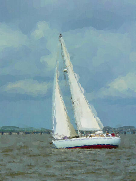 Photograph - Sailboat With Watercolor Effect by Kathy K McClellan