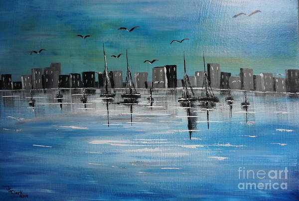 Painting - Sailboats And Cityscape by Jimmy Clark
