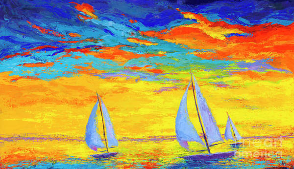 Impressionistic Sailboats Painting - Sailboats At Sunset, Colorful Landscape, Impressionistic Art by Patricia Awapara