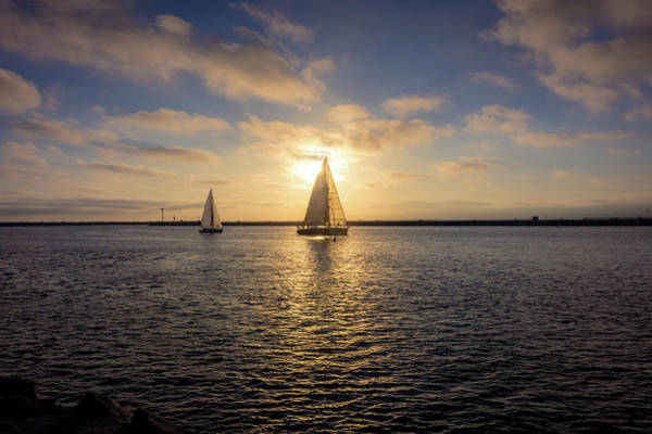 Photograph - Sailboats At Sunset by Andy Konieczny