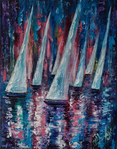 Painting - Sailboats by OLena Art - Lena Owens