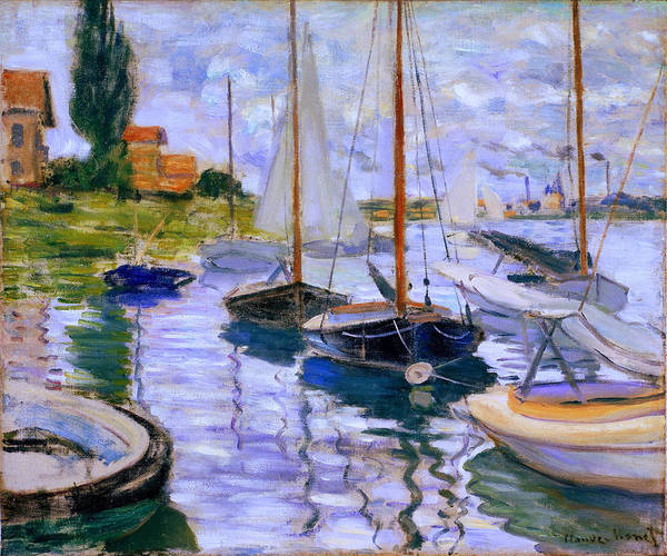 Painting - Sailboats On The Seine At Petit Gennevilliers Claude Monet 1874 by Claude Monet