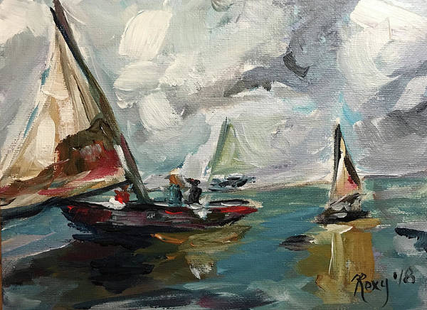 Transportation Painting - Sailboats by Roxy Rich