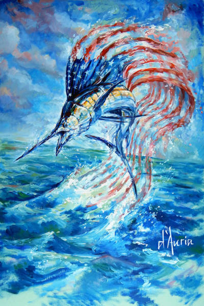 Beachy Painting - Sailfish Americana by Tom Dauria