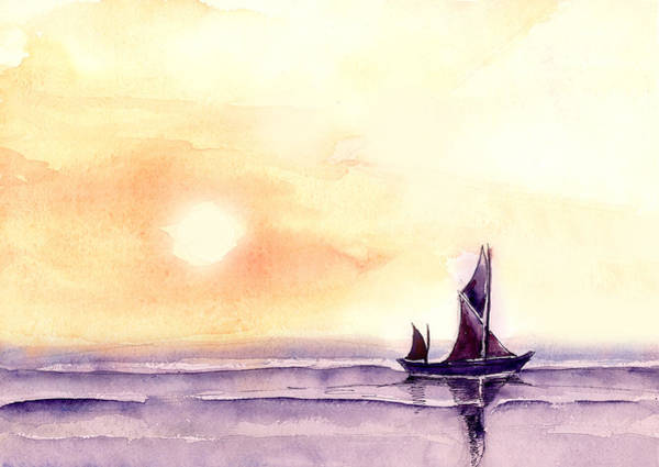 Boats Wall Art - Painting - Sailing by Anil Nene