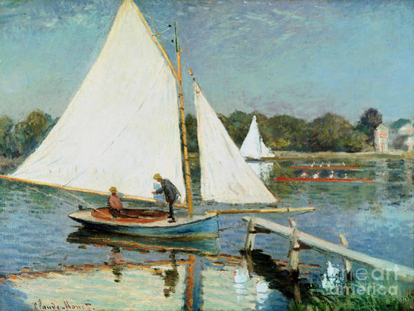 Wall Art - Painting - Sailing At Argenteuil by Claude Monet