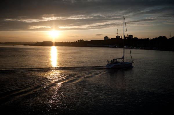 Photograph - Sailing At Sunset by Helen Northcott