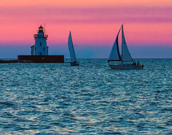 Photograph - Sailing At The Cleveland Lighthouse  by Richard Kopchock