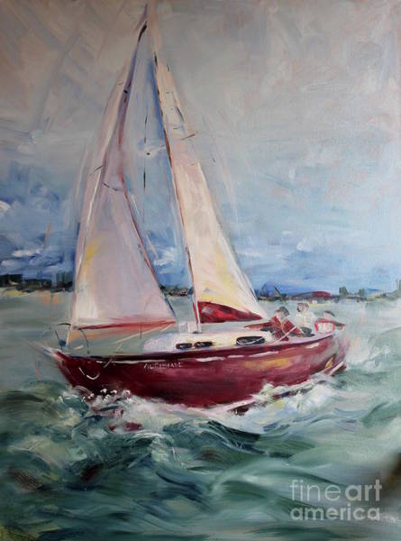 Oceanscape Painting - Sailing Away by Maria Reichert
