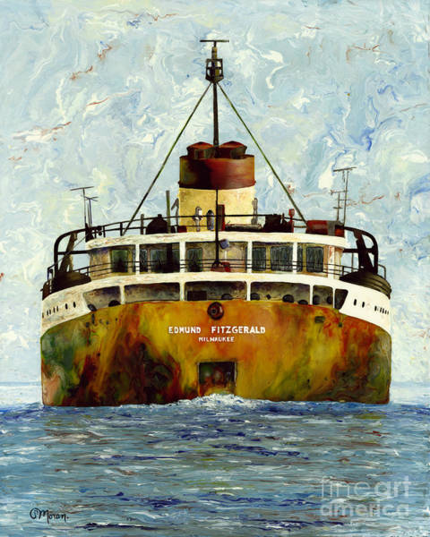 Freighter Wall Art - Painting - Sailing Away - The Edmund Fitzgerald by Stefanie Moran