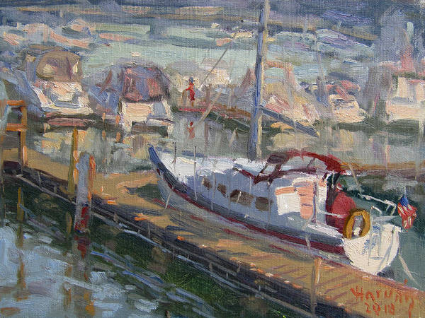 Tonawanda Wall Art - Painting - Sailing Boat At North Tonawanda Harbor by Ylli Haruni