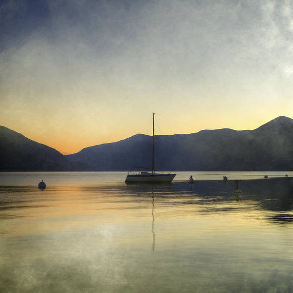 Lake Maggiore Photograph - Sailing Boat In The Sunset by Joana Kruse