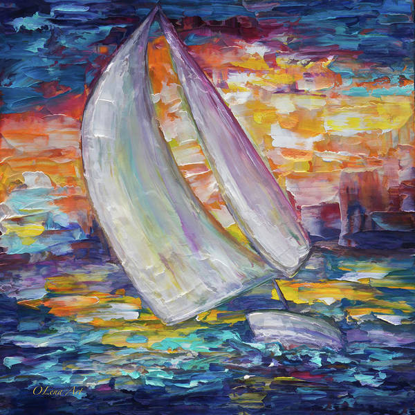 Painting - Sailing Boat by OLena Art - Lena Owens